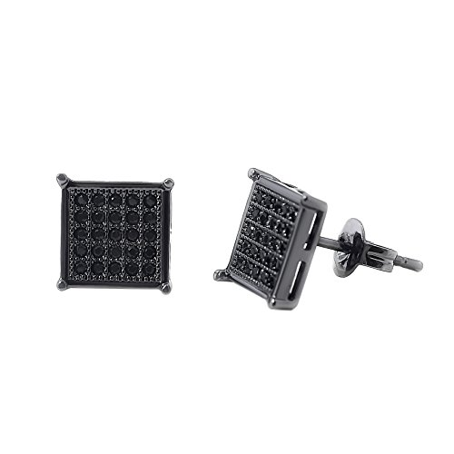 Mens Square Earrings Black Stud Diamond Crystal Big 316L Surgical Stainless Steel Post for Sensitive Ear Cool Guy Jewelry Gift Men, Women Unisex 8mm -Tarsus