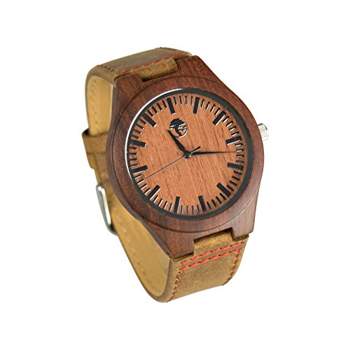 Viable Harvest Men's Wood Watch Rugged Man Series, Natural Red Sandalwood and Bamboo with Gift Box (Rugged - Hipster Wood