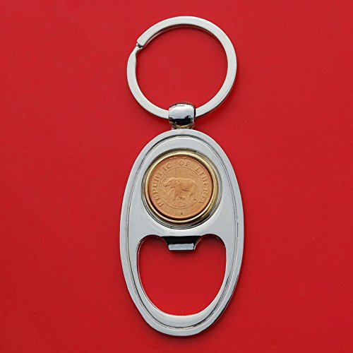 1968 Liberia One Cent BU Uncirculated Coin Key Chain Ring Bottle Opener NEW - Wildlife Animal Elephant