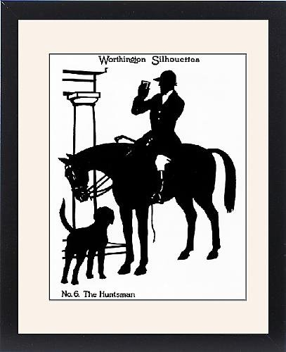 Framed Print of Silhouette of huntsman enjoying a stirrup cup