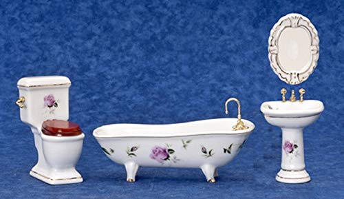 Dollhouse Miniature 1:12 Scale 4 Pc Pink Roses Bath SET #T5362