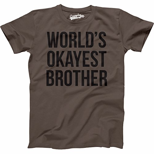 Mens Worlds Okayest Brother Shirt Funny T Shirts Big Brother Sister Gift Idea (Brown) - L