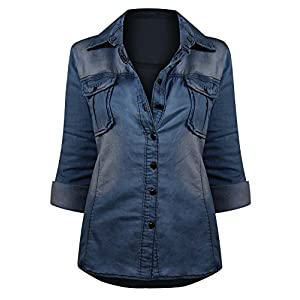 HOT FROM HOLLYWOOD Women's Button Down Roll up Sleeve Classic Denim Shirt Tops