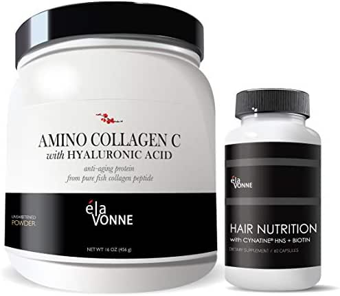 Hair Skin Nails Combo Pack : Amino Collagen w/Hyaluronic Acid & Hair Nutrition with Cynatine HNS + Biotin