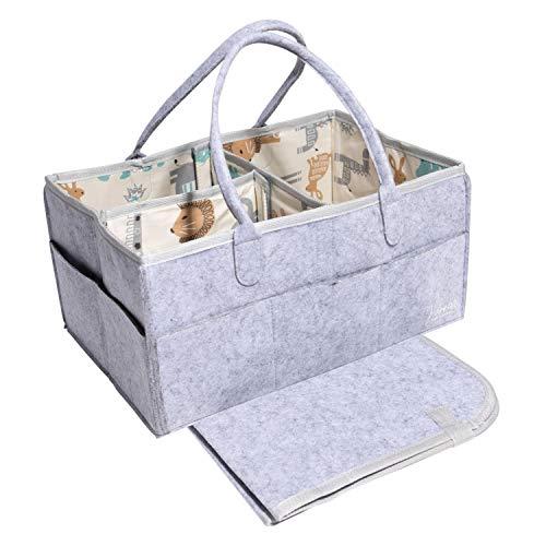 Baby Diaper Caddy Organizer Blue | Nursery Diaper Tote Bag | Portable Car Travel Organizer | Diaper Storage Bin | Baby Shower Gift Basket | Baby Essentials