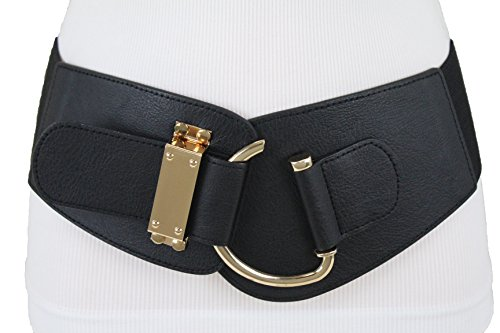 TFJ Women Fashion Elastic Corset Belt Wide Hip Waist Faux Leather Gold Hook Buckle M L XL Black Buckle Wide Corset
