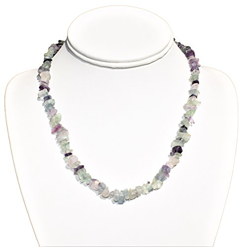 Charged 18 Rainbow Fluorite Crystal Chip Necklace Tumble Polished Reiki by ZENERGY GEMS