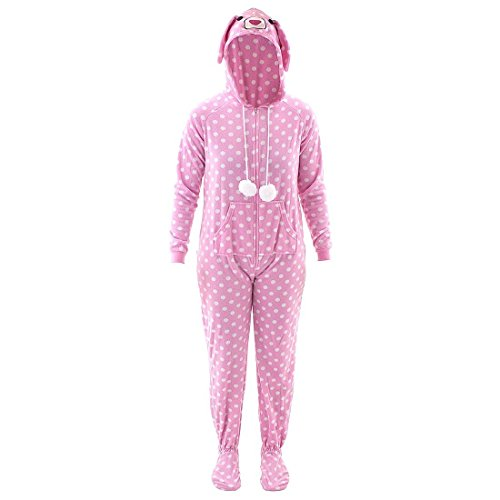 Pink Bunny Hooded Footed Pajamas for Women S (Bunny Onesies For Adults)