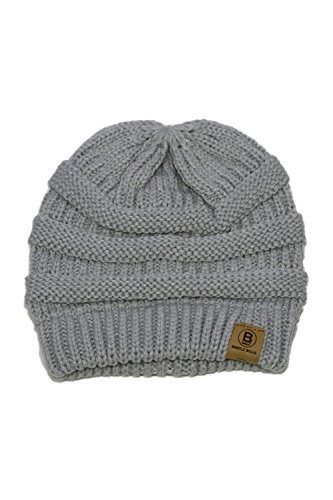 - BASICO Unisex Adult Warm Chunky Soft Stretch Cable Knit Beanie Cap Hat (101 Rose Grey)
