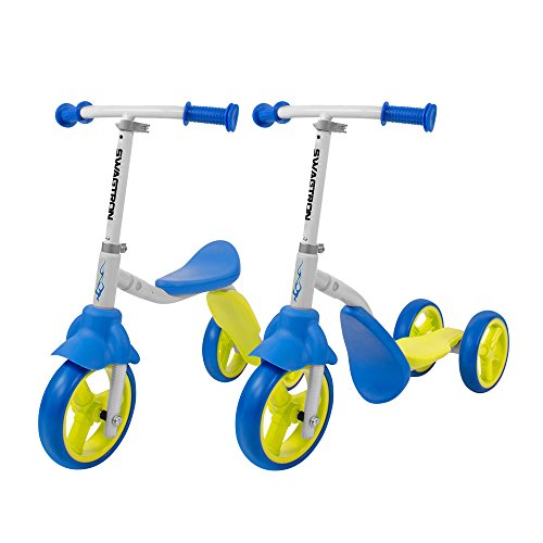 (K2 Toddler 3 Wheel Scooter & Ride-On Balance Trike 2-in-1 Adjustable for 2, 3, 4, 5 Year Old Kids Boy or Girl Transforms In Seconds (Blue) )