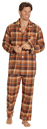 - EVERDREAM Sleepwear Mens Flannel Pajamas, Long 100% Cotton Pj Set, Size XX-Large Brown Rust