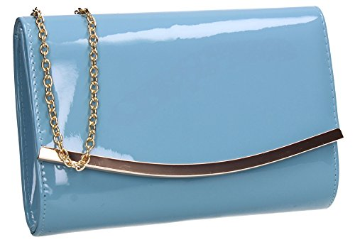 Party Patent Clutch Leather Prom Flapover Lilo Blue Womens Sky Ladies Bag SWANKYSWANS qUfFwRY