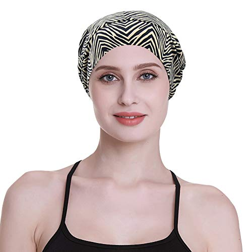 (Sleep Slouchy Headwear for Frizzy Women Curly Hair Satin Cap Stripe)