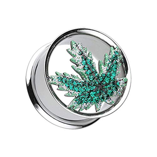 Pot Leaf Multi-Sprinkle Dot Ear Gauge Tunnel WildKlass Plug (00 GA - Plug Pot Leaf