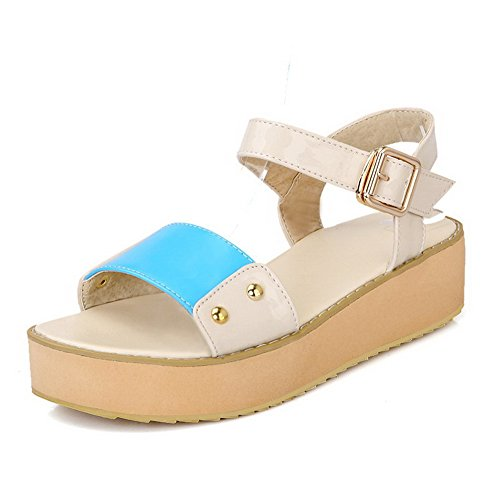 Blue with Heel Solid Low Colors Assorted Metal and Toe Leather Patent VogueZone009 Sandals Womens Wedges Open xHvZaZ
