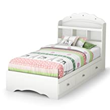 South Shore Furniture Tiara Twin Mates Bed with Drawers and Bookcase Headboard 39-Inch Set, Pure White