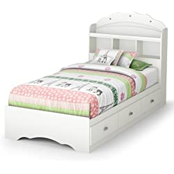 39 in. Twin Mates Bed with Bookcase Headboard in Pure White