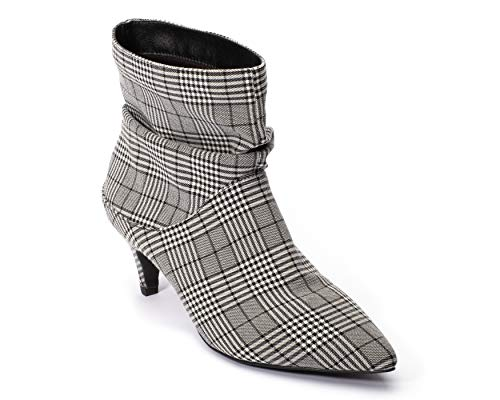 Jane and the Shoe Women's Lizzy Black/White Plaid Kitten Heel Ankle Boot 7.5