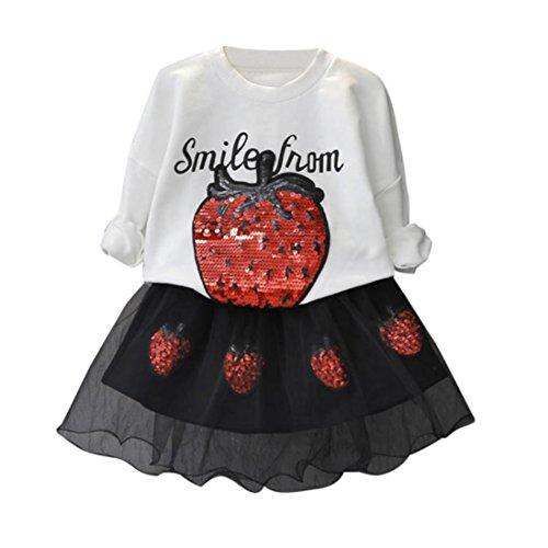 Omiky® Kleinkind Kinder Baby Mädchen Outfits Kleidung T-Shirt Sequins Tops + Tüll Rock Set Weiß