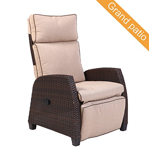 Grand patio MOOR Indoor & Outdoor Reclining Chair with Thick Beige Cushion, Weather-Resistant Wicker Patio Chairs with Aluminum Frame, Adjustable Recliner Chair with Side Panel, Brown