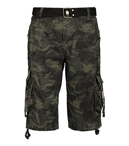 Resfeber Cargo Shorts for Men, Mens Slim Fit Athletic Twill Cargo Shorts Military Green Camo Size 34 (Military Four)