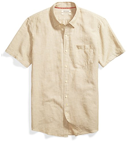 Goodthreads Men's Slim-Fit Short-Sleeve Linen and Cotton Blend Shirt, Khaki, Medium by Goodthreads