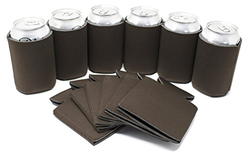 ves - Chocolate Brown Beer Coolies for Cans and Bottles - Bulk Blank Drink Coolers – Create Custom Wedding Favor, Funny Party Gift (12-Pack) (Custom Chocolate)