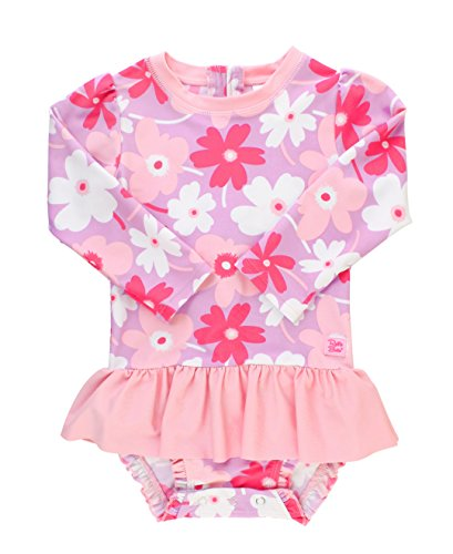 RuffleButts Baby/Toddler Girls Happy Petals Peplum One Piece Rash Guard - 6-12m
