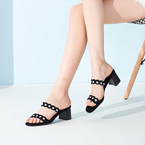 High Heel Heel and Lace Slippers in Summer Black MNHUOsO