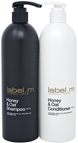Label.M Honey & Oat Shampoo & Conditioner Twins (750ML) Daily Shampoo & Conditioner Moisturizes, Nourishes, & Protects Dry & Damaged Hair. Manuka Honey Repairs Hair Damage & Leaves Hair Soft & Healthy