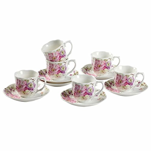 China Coffee Teacup - Floral Tea Cups and Saucers, Espresso Cups 7-OZ Set of 6 with Wavy Rims and Handles Made of New Bone China Porcelain for Mocha Cappuccino Exquisite Coffee Cups and Saucers