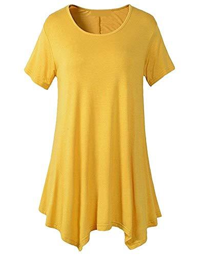 Femme O Gelb Col Haut Baggy Oversize Courtes Unicolore Casual Shirt Tunique Tee Manches Longue Et Costume Mode Chemise Elgante Chic 5IwC5HqR