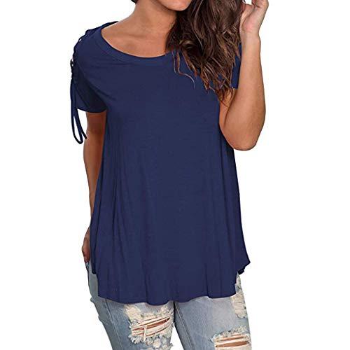 Summer Tshirts for Women Miuye Ruched Hem Plain Short Sleeve Tunic Tops Elegant Belted Sleeve Blouses Tee (XXL, Navy)