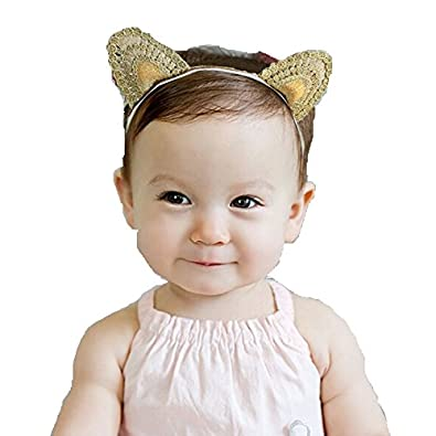 Ziory Golden Cute Delicate Lace Cat Ear Girl Headbands Head Wrap Infant  Hair Accessories Children Hair Bands for Baby Girls and Baby Boys   Amazon.in  ... 1ff4c752781