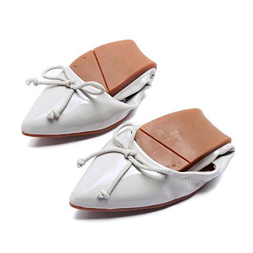 Allhqfashion Donna Senza Tacco Massiccio Tira Su Punta A Punta Piatta Scarpe-scarpe Grigie