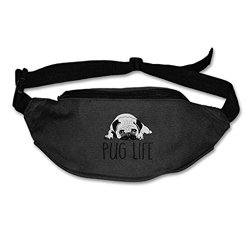 Hfaw Pug Life Men Women Outdoors Cool Fanny Pack Bag,Belt Bag Waist Pack,Waist Pack,Sport Waist Pack Black