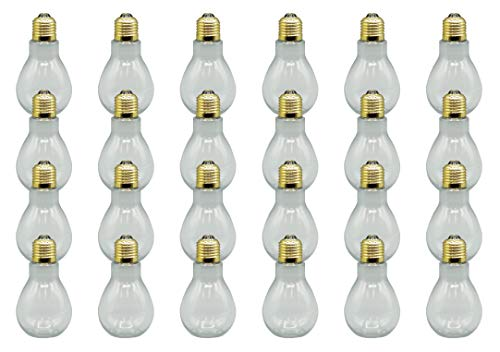 Creative Hobbies 24 Pack Clear Plastic Fillable Light Bulbs, Great for Candy, Wedding Party Favors, Crafts, Gifts, 4 Inch Tall