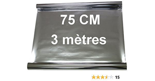Aerzetix - Película adhesiva para tintar ventanas (apto para lunas, ventanas, velux, 3 mx 75 cm, efecto de espejo), color plateado