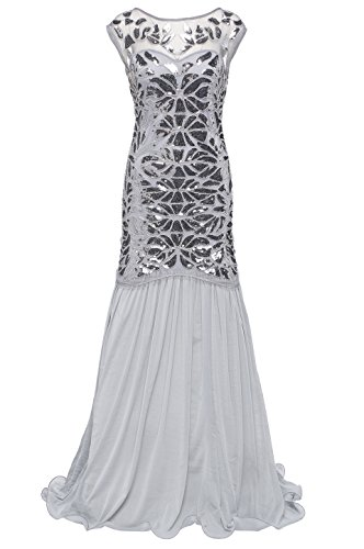 Silver 1920s Dress (BABEYOND 1920s Flapper Dress Costume,Silver,Small)