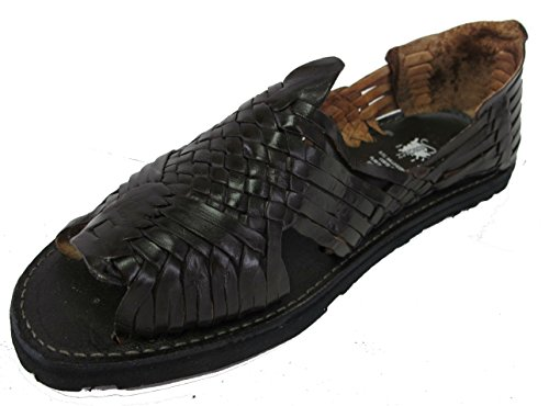 Mens Nouveau Cuir Souple Tissé À La Main Sandales Flip Flop Slip Huaraches Noir