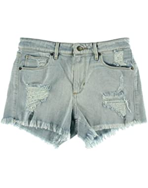 Guess Womens Flat Front Destroyed Denim Shorts