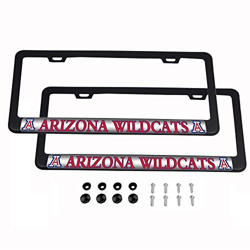 CHNNFC NCAA 2 Pack Luxury Stainless Steel License Plate Frame (Arizona Wildcats) ()