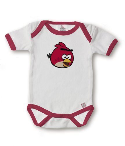 SwaddleDesigns Unisex-Baby Newborn 3 Inch Angry Birds Bodysuit, Red, 6-12 Months for $<!--$5.99-->