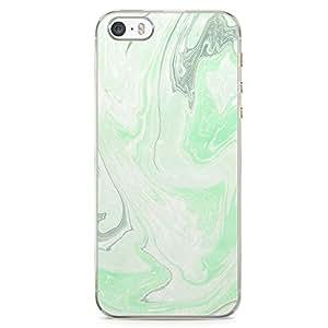 iPhone SE Transparent Edge Phone case Liquid Marble Phone Case Liquid Green Light iPhone SE Cover with Transparent Frame