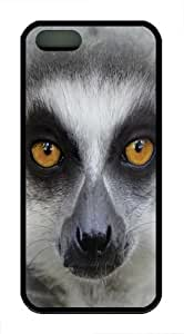 Big Face Ring Tailed Lemur TPU Case Cover for iPhone 5 and iPhone 5s Black