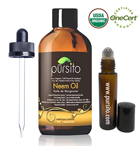 Organic Neem Oil and Treatment Roller, Pure Cold Pressed & Unrefined For Skin, Nails, Face, Hair & Scars Anti-Aging Moisturizer and Natural Insect Repellent Oil (1oz) USDA Organic by Pursito