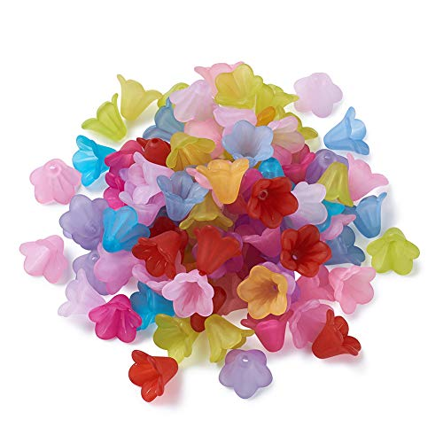 Pandahall 100pcs Mixed Color Transparent Frosted Acrylic Beads Trumpet Flower Bead Caps DIY Jewelry Making -