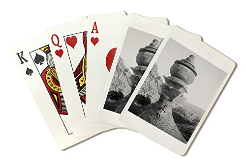 Man in front of Large Urn at Petra Photograph (Playing Card Deck - 52 Card Poker Size with Jokers)
