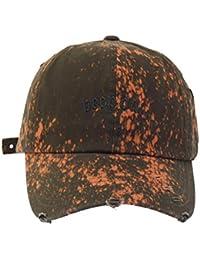 Bleach Washed Design Vintage Adjustable Paint Baseball Cap, Dark Olive