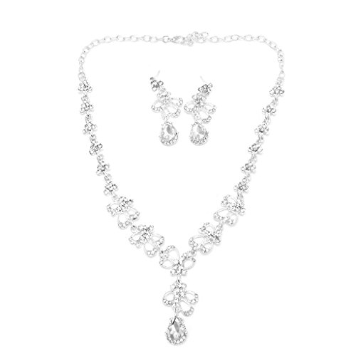 cici store Women Rhinestone Necklace Earring Wedding Bridal Bridesmaid Jewelry Set